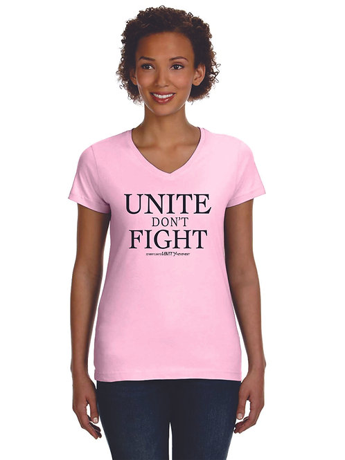 Women's UNITE DON'T FIGHT Fitted Pink V-Neck Tee with Black Print
