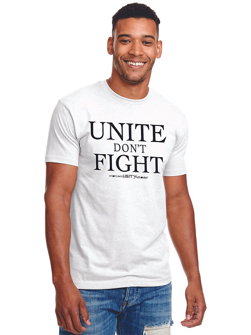 UNITE DON'T FIGHT Fitted White Tee with Black Print - Blended Cott