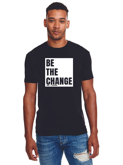 BeTheChange BLOCK Men's Fitted Black Tee with White Square - Blended Cotton