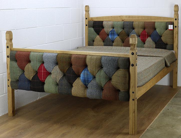 Harris Tweed patchwork bed frame