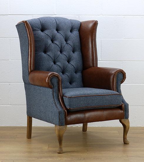 Harris Tweed chair HS03 medium brown leather