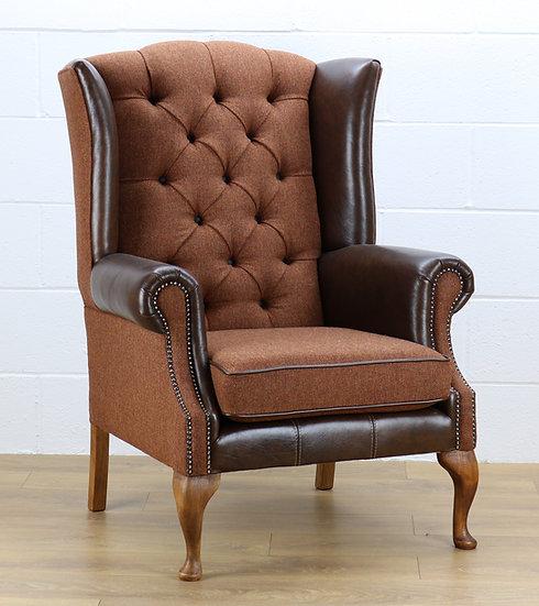 Harris Tweed chair HU05 dark brown leather