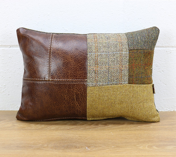 Harris Tweed patchwork cushion C001YM medium brown leather