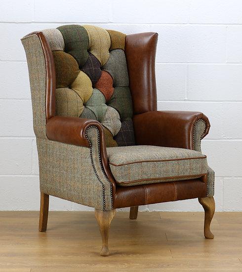 Harris Tweed patchwork chair L002H medium brown leather