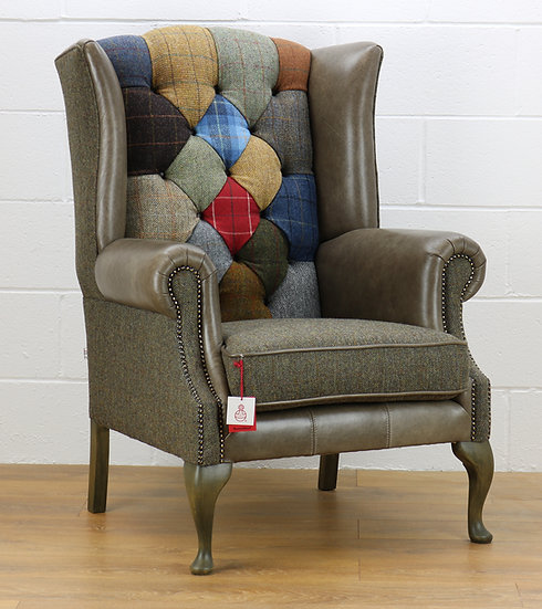 Harris Tweed patchwork chair C001YM sage grey leather
