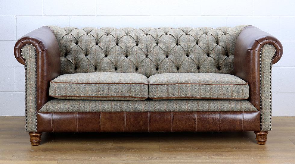 Harris Tweed Chesterfield sofa L002H medium brown leather