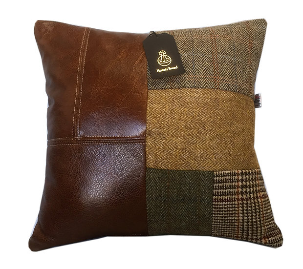 Harris Tweed patchwork cushion