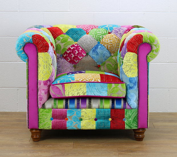 Chesterfield patchwork armchair