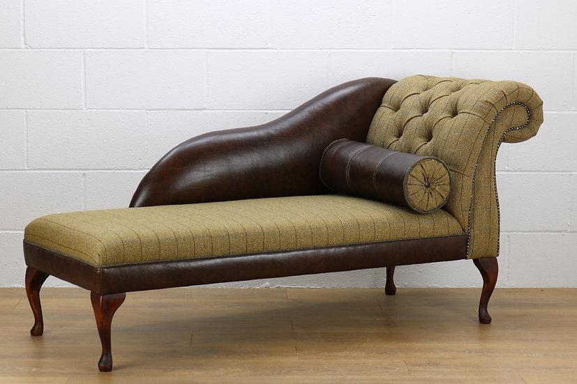 RHF Harris Tweed chaise longue CW04 dark brown leather