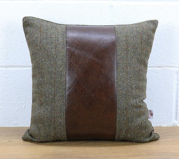 Harris Tweed cushion C001YM dark brown leather