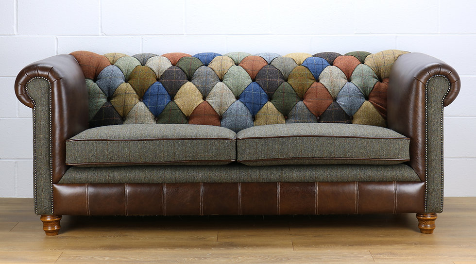 Harris Tweed Chesterfield patchwork sofa C001YM dark brown leather