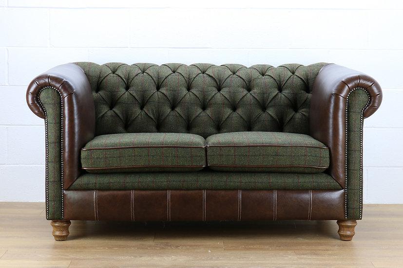 Harris Tweed Chesterfield sofa L008R dark brown leather