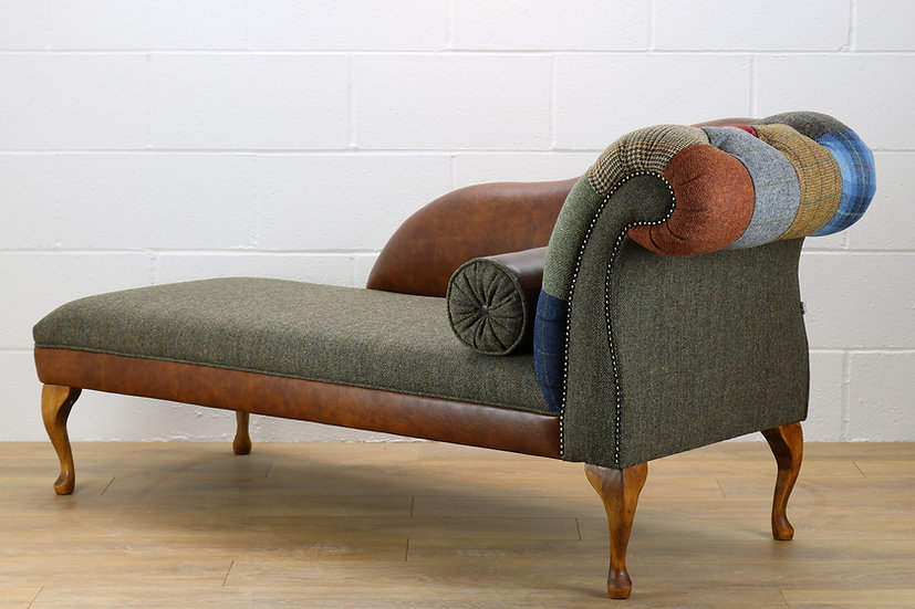 RHF Harris Tweed patchwork chaise longue CM001YM medium brown leather