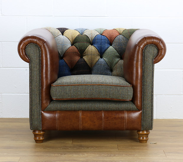 Harris Tweed Chesterfield patchwork armchair C001YM medium brown leather