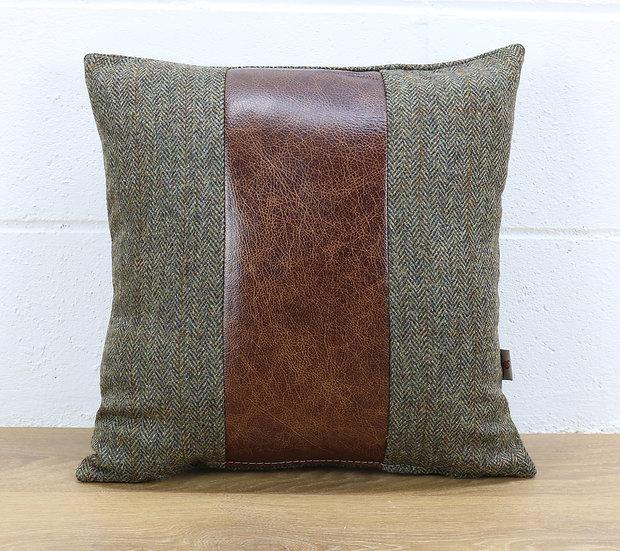 Harris Tweed cushion C001YM medium brown leather