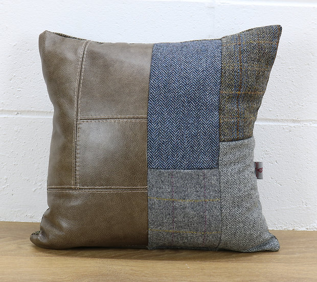 Harris Tweed patchwork cushion C001YM sage grey leather