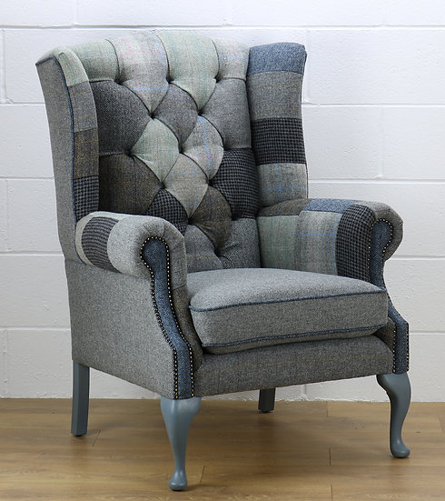 Harris Tweed patchwork HG02 grey chair