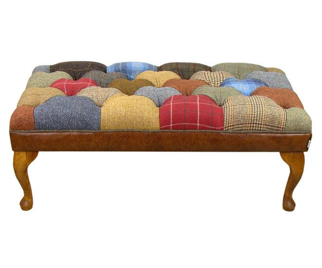 Harris Tweed patchwork stool medium brown leather