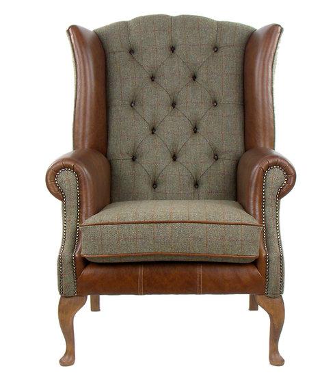 Harris Tweed wing chair CB01 medium brown leather