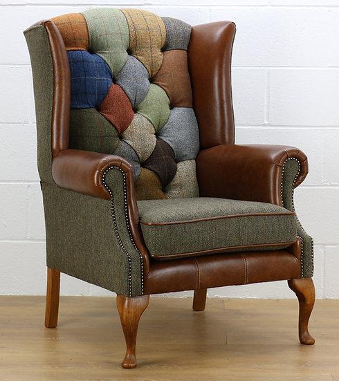 Harris Tweed patchwork chair C001YM medium brown leather