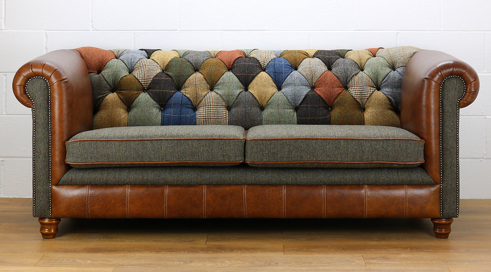 Harris Tweed Chesterfield patchwork sofa C001YM medium brown leather