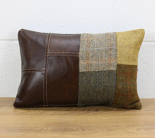 Harris Tweed patchwork cushion C001YM dark brown leather