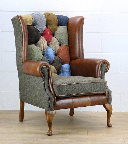 Harris Tweed patchwork chair C001YM medium brown leather (red, blue)