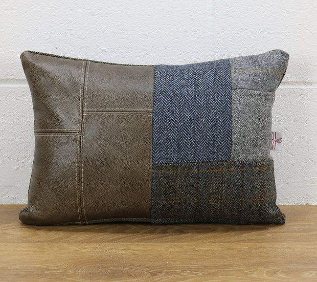 Harris Tweed patchwork cushion C001YM sage grey leather