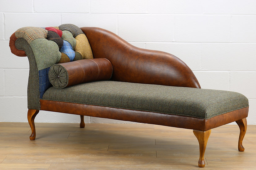 LHF Harris Tweed patchwork chaise longue C001YM medium brown leather