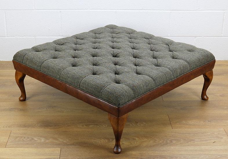 Harris Tweed stool C001YM medium brown leather