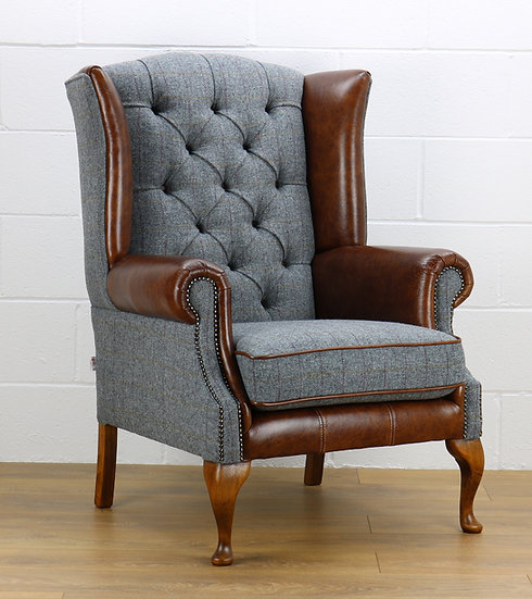Harris Tweed chair HG02 medium brown leather