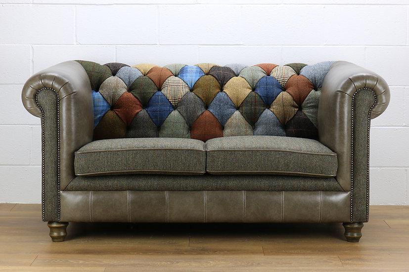 Harris Tweed Chesterfield patchwork sofa C001YM sage grey leather