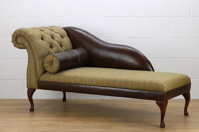 LHF Harris Tweed chaise longue CW04 dark brown leather