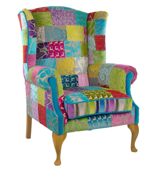 Royal patchwork wing back chair