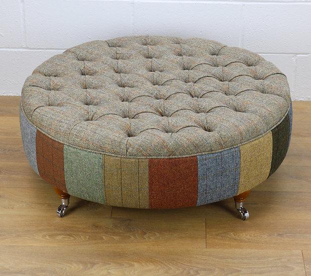 Harris Tweed patchwork ottoman L002H