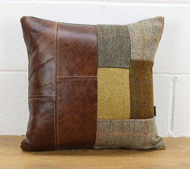 Harris Tweed patchwork cushion C001YM medium brown leather