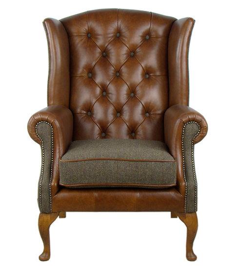 Harris Tweed wing back chair C001YM medium brown leather