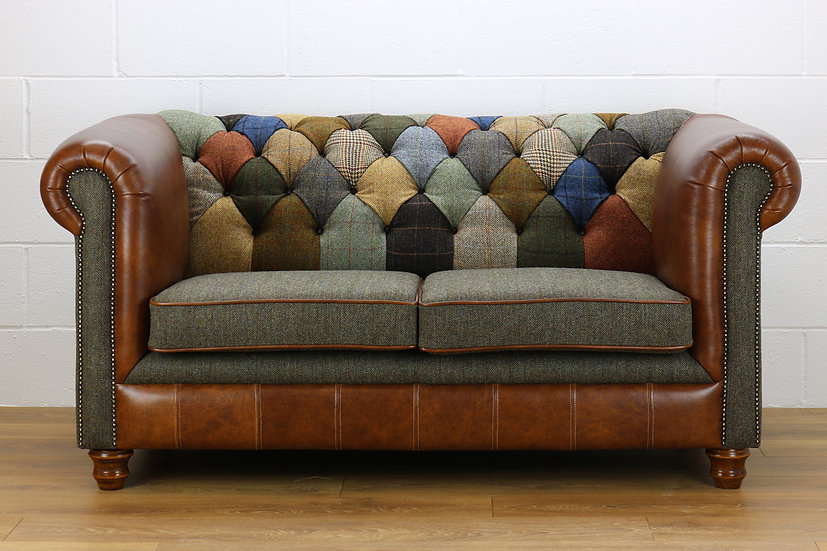 Harris Tweed Chesterfield patchwork sofa C001YM medium brown leather