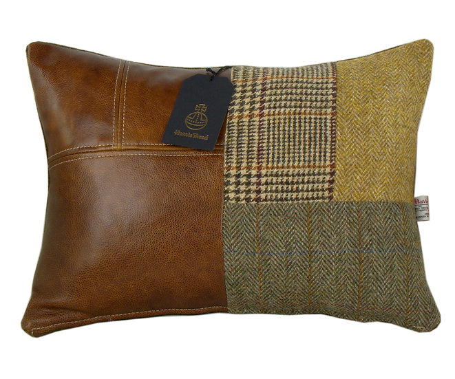Harris Tweed patchwork cushion rectangle