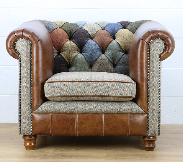 Harris Tweed Chesterfield patchwork armchair L002H medium brown leather