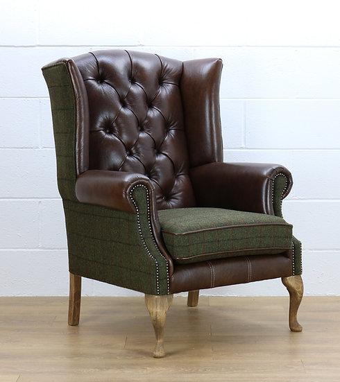 Harris Tweed chair L008R dark brown leather