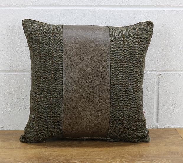 Harris Tweed cushion C001YM sage grey leather