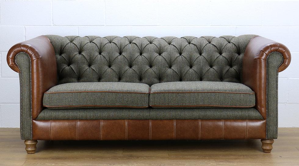 Harris Tweed Chesterfield sofa C001YM medium brown leather