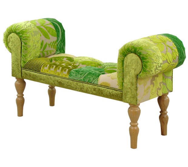 Lyon green patchwork stool