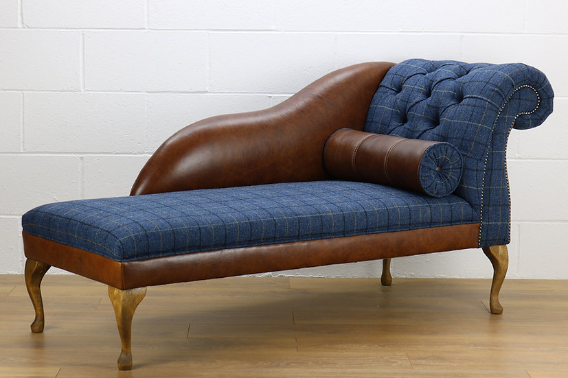 RHF Harris Tweed chaise longue L008W medium brown leather