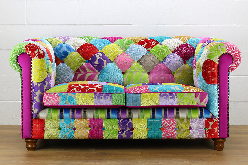 Chesterfield patchwork 2 seater sofa