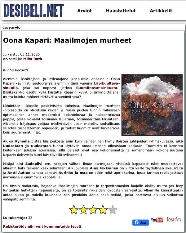 desibeli.net - Oona Kapari: Maailmojen m