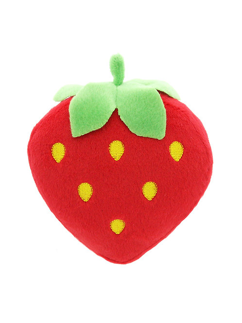 Plump Strawberry Plush & Squeaky Dog Toy