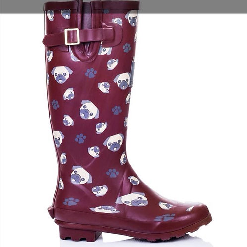Red Pug Wellies