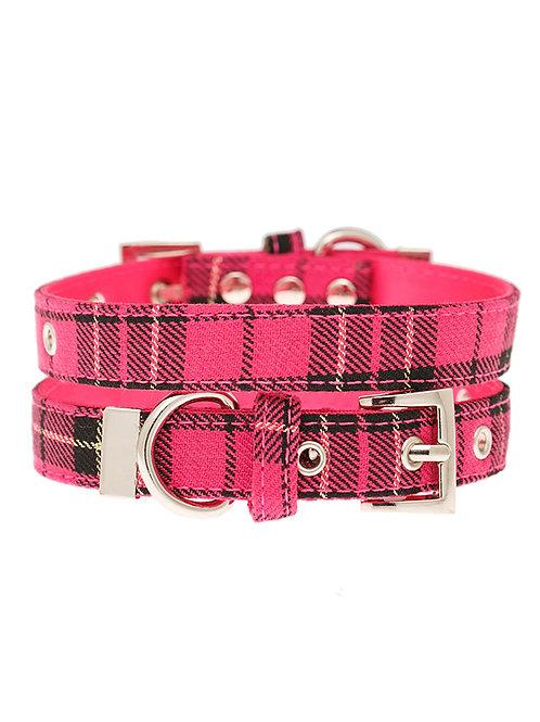 Fuschia Pink Tartan Collar